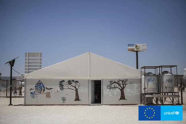 Miejsce Przyjazne Dzieciom w obozie dla syryjskich uchodźców w Zaatari