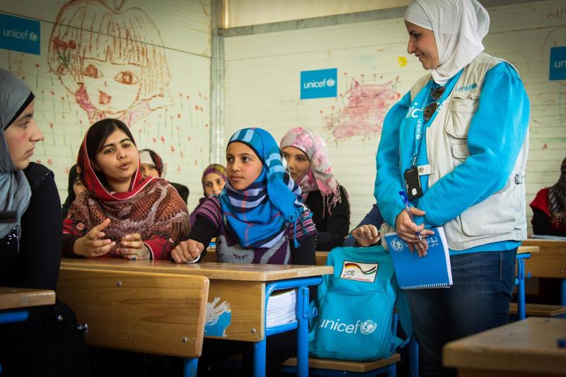 Malala spotkała się z uczennicami prowadzonej przez UNICEF szkoły