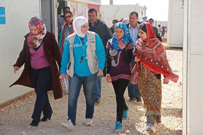 Malala podczas wizyty w obozie dla syryjskich uchodźców w Jordanii