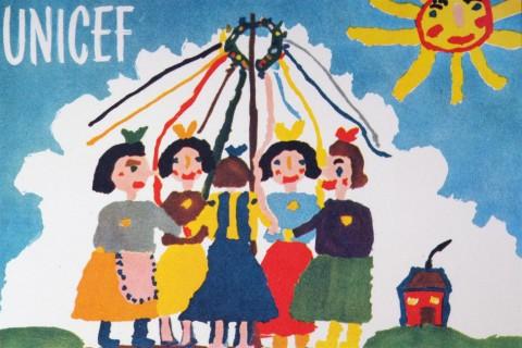 Pierwsza karta UNICEF, namalowana przez Czeszkę, Jitkę Samkovą