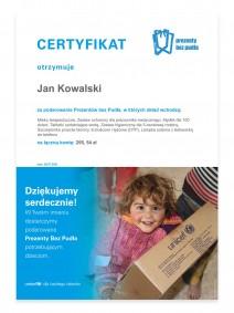 UNICEF Polska - Prezenty bez Pudła - certyfikat (wzór)