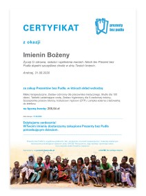 UNICEF Polska - Prezenty bez Pudła - certyfikat okolicznościowy (wzór)